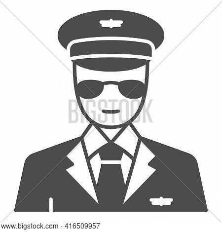 Pilot Solid Icon, Airlines Concept, Pilot Vector Sign On White Background, Pilot Glyph Style For Mob