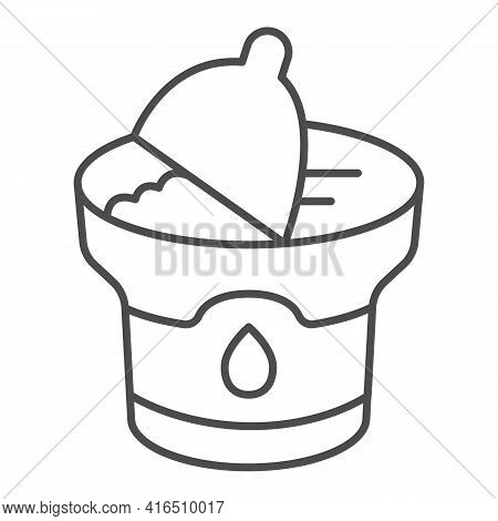 Sour Cream Packaging Thin Line Icon, Dairy Products Concept, Yogurt Container With Cap Sign On White