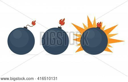 A Black Round Bomb With A Fuse In Several States, Explosives In Action. Vector Illustration In Flat