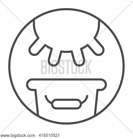Cow Udder And Bucket Of Milk Thin Line Icon, Dairy Products Concept, Milking Cow Sign On White Backg