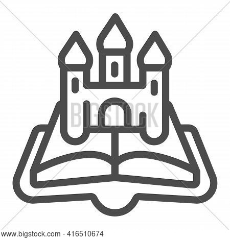 Open Book Castle Line Icon, Children Book Day Concept, Castle, Queen, King Vector Sign On White Back
