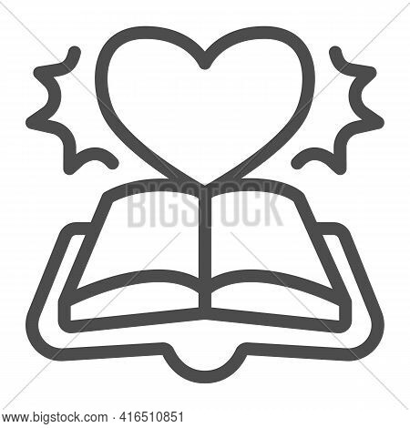 Open Book Novel Line Icon, Children Book Day Concept, Book And Novel Vector Sign On White Background