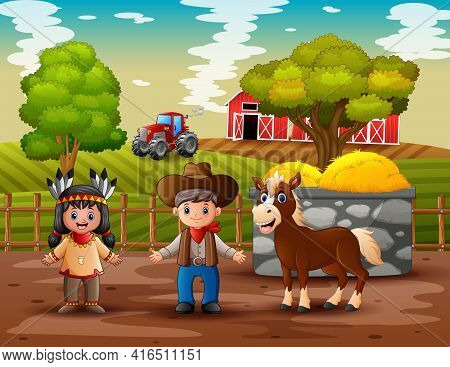 Illustration Of Cowboy And Cowgirl In The Farm