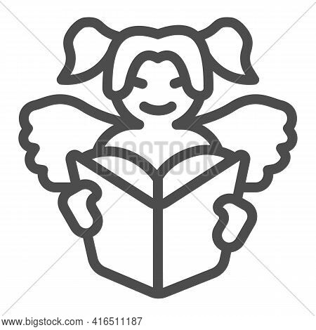Angel Child Reads Book Line Icon, Children Book Day Concept, Angel Wings Vector Sign On White Backgr