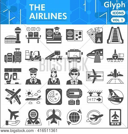 Airline Solid Icon Set, Airline Symbols Collection Or Sketches. Airline Glyph Style Signs For Web An