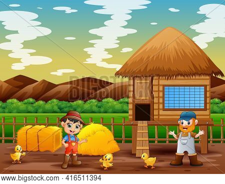 Illustration Of The Farmers And Chicken Coop In The Farm