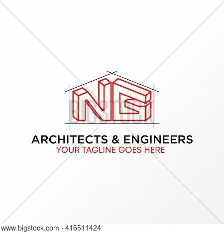 Letter Ng Anstract 3d Logo Design Concept. Can Be Used As A Symbol Related To Architecture.