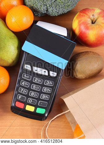 Payment Terminal, Credit Card Reader With Contactless Credit Card And Fresh Fruits And Vegetables, C