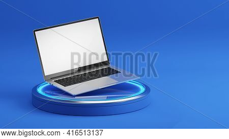 Laptop with blank white screen on a podium. Blue background. Laptop blank screen mockup. 3d rendering