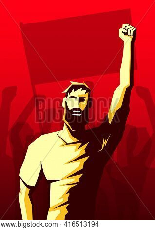 Screaming Beard Man With Raised Up Fist And Crowd Of People With Flag And Hands Raised In The Air On