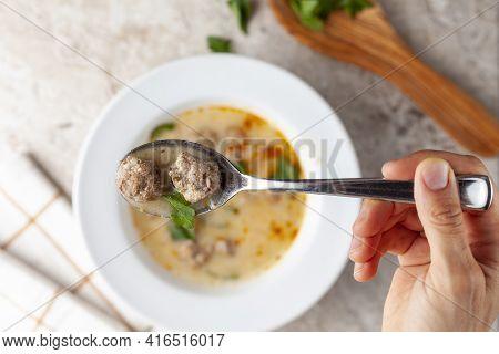 Turkish Meatball Soup (terbiyeli Kofte Corbasi ) Is A Popular Dish In Turkey Where Meatballs Made Wi