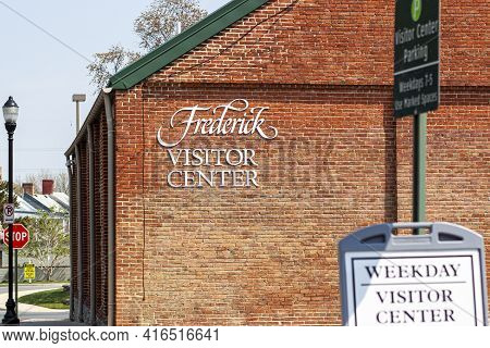 Frederick, Md, Usa 04-07-2021: Closeup Isolated Image Of The Visitor Center In The Historic City Of