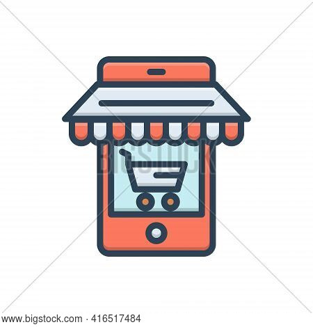 Color Illustration Icon For Ecommerce-optimizing Ecommerce Optimizing Cart Market Business Target