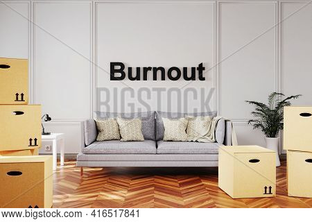 Elegant Living Room Interior With Stacks Of Moving Boxes And Vintage Sofa; Burnout Concept; 3d Illus