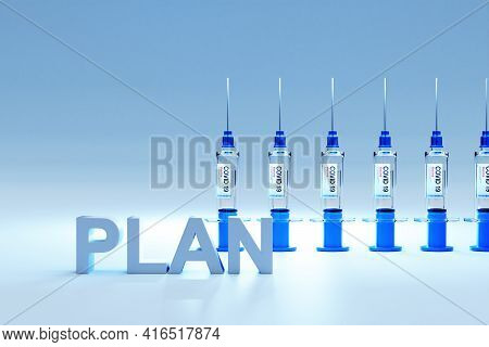 Row Of Covid 19 Sarscov Syringes Vaccine Against Pandemic; Conceptual Strategy; 3d Illustration