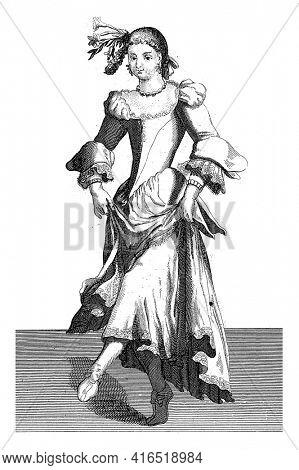 Venetian dancing woman, Domenico Bonavera (possibly), c. 1650 - c. 1740 Young Venetian woman, dancing and with flowers in her hair, vintage engraving.