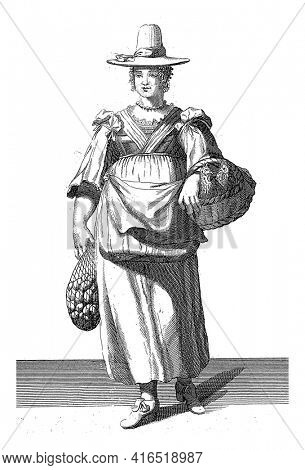 Venetian woman on the way to the market, Domenico Bonavera (possibly), c. 1650 - c. 1740 Woman standing with a basket of chickens and a net with eggs, vintage engraving.