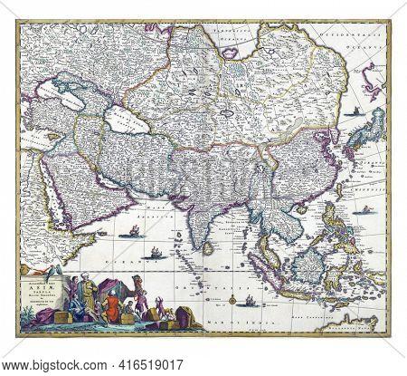 Map of Asia, Frederik de Wit, vintage engraving.