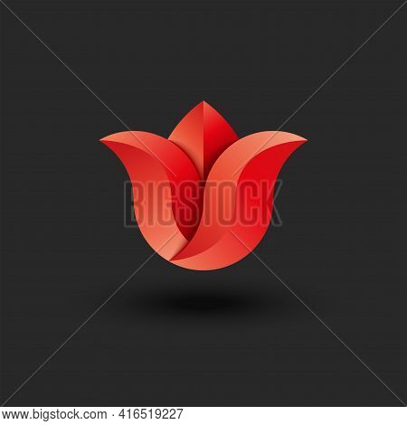 Tulip Logo Gradient, Faceted Red Artificial Flower Creative 3d Shape On Black Background