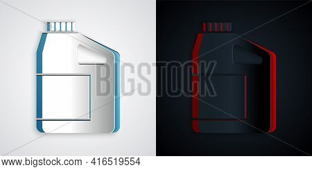 Paper Cut Canister For Motor Machine Oil Icon Isolated On Grey And Black Background. Oil Gallon. Oil