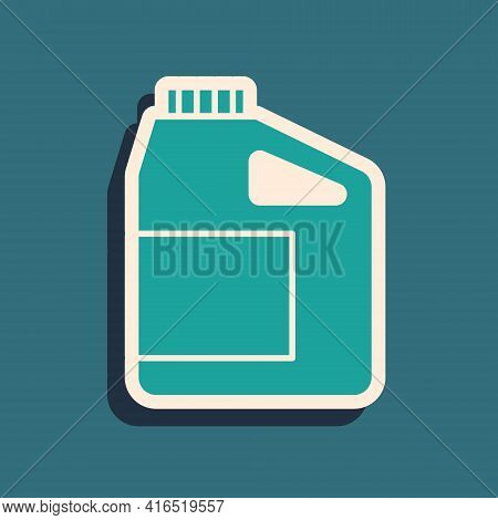 Green Canister For Motor Machine Oil Icon Isolated On Green Background. Oil Gallon. Oil Change Servi