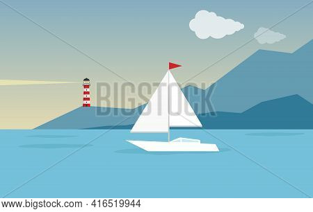 Seascape. White Yacht Against The Background Of The Sea, Sky And Mountains. Vector Illustration. Vec
