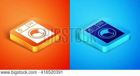 Isometric Washer Icon Isolated On Orange And Blue Background. Washing Machine Icon. Clothes Washer -