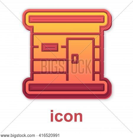 Gold Sauna Wooden Bathhouse Icon Isolated On White Background. Heat Spa Relaxation Therapy Bath And