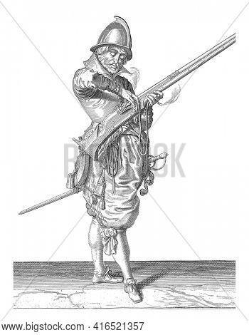 Soldier Correctly Positioning and Shaping the Wick on the Rooster of His Rudder, vintage engraving.