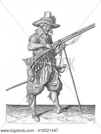 A soldier on guard, full-length, to the right, holding a musket (a particular type of firearm) with his left hand by the fork of the furket, vintage engraving.