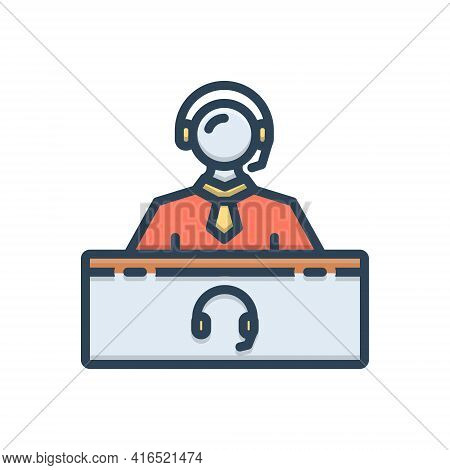 Color Illustration Icon For Support-center Center Consulting Helpline Person Support Telemarketing