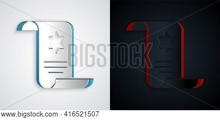 Paper Cut Torah Scroll Icon Isolated On Grey And Black Background. Jewish Torah In Expanded Form. St