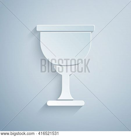 Paper Cut Holy Grail Or Chalice Icon Isolated On Grey Background. Christian Chalice. Christianity Ic
