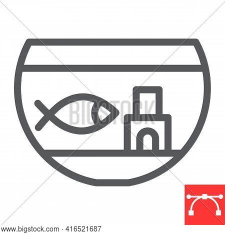 Aquarium Line Icon, Pet And Fishbowl, Fish In Aquarium Vector Icon, Vector Graphics, Editable Stroke