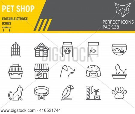 Pet Shop Line Icon Set, Pet Store Collection, Vector Graphics, Logo Illustrations, Pet Shop Vector I