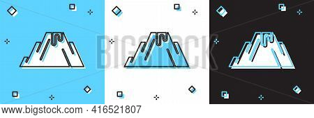 Set Volcano Eruption With Lava Icon Isolated On Blue And White, Black Background. Vector