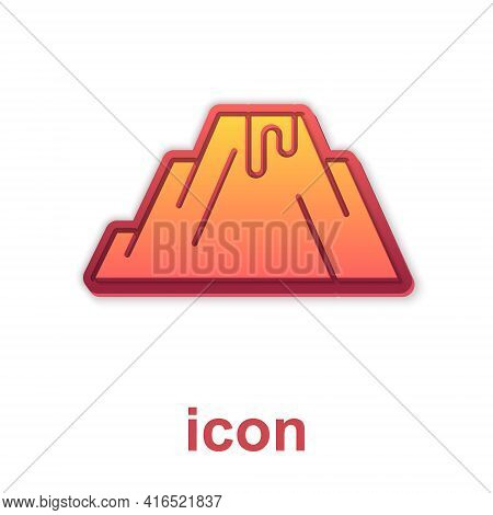 Gold Volcano Eruption With Lava Icon Isolated On White Background. Vector