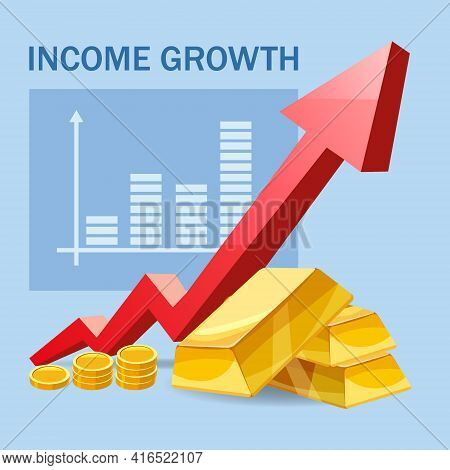 Increase Income Financial Revenue, Growth Money Rate Rising Up. Arrow Up, Gold Bars Coins Fund, Conc
