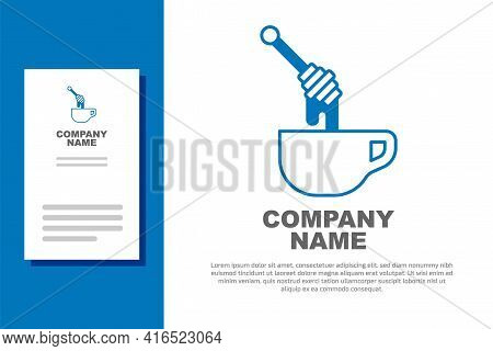 Blue Honey Dipper Stick With Dripping Honey Icon Isolated On White Background. Honey Ladle. Logo Des