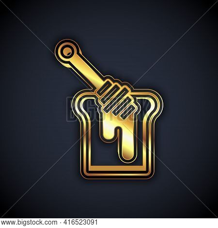 Gold Honey Dipper Stick With Dripping Honey Icon Isolated On Black Background. Honey Ladle. Vector