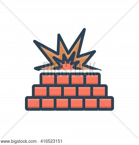 Color Illustration Icon For Firewall Blast Fire Flame Protection Safety Wall