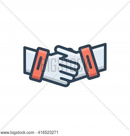 Color Illustration Icon For Partnership Collaboration Complicity Copartnership Handshake Teamwork