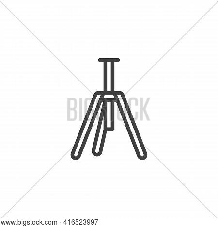 Tripod Line Icon. Linear Style Sign For Mobile Concept And Web Design. Camera Tripod Outline Vector