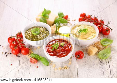 pesto sauce, mayonnaise and tomato sauce- sauce,  dip composition with ingredients