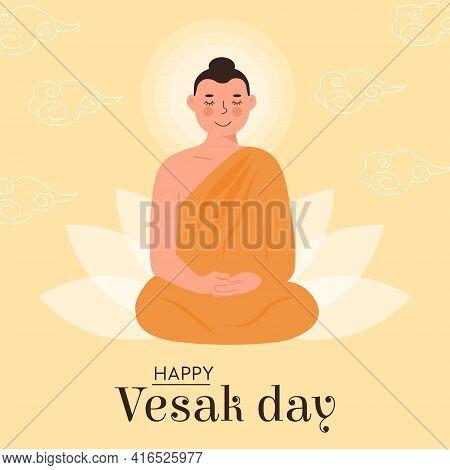 Happy Vesak Day Vector Card. Translation From Sanskrit Festival Of Gautama Birth, Death, Paranirvana