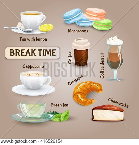 Coffee Break Decorative Icons Set With Cappuccino Croissant And Macaroon Cookies Isolated Vector Ill