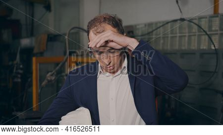 Professional Confident Engineer Businessman In Suits Safety Hats And Goggles Tired Worker Stand Remo
