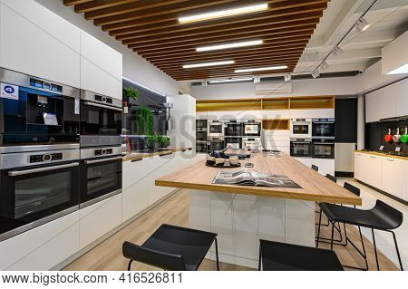 Chisinau, Moldova, May 2020: showroom of domestic appliance store with equipment mostly from Bosch brand