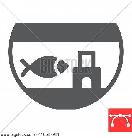 Aquarium Glyph Icon, Pet And Fishbowl, Fish In Aquarium Vector Icon, Vector Graphics, Editable Strok