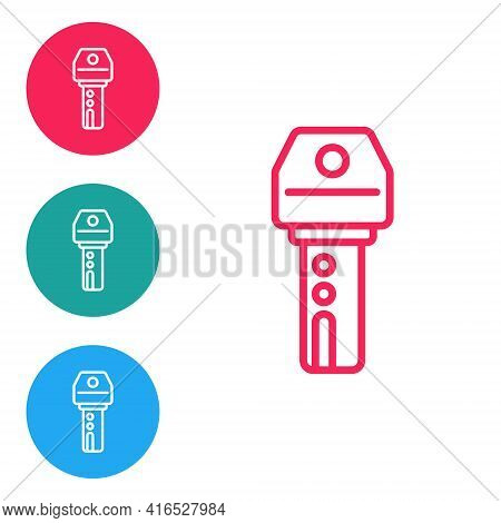 Red Line Car Key With Remote Icon Isolated On White Background. Car Key And Alarm System. Set Icons